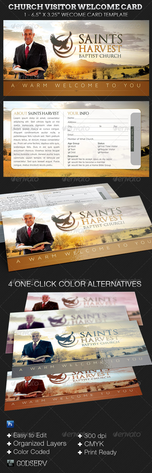 GraphicRiver Church Visitor Welcome Card Template 6660248