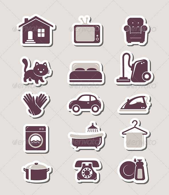 GraphicRiver Household Paper Cut Icons 6660584