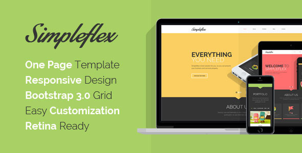 ThemeForest Simpleflex Multipurpose OnePage Flat PSD templat 6661169