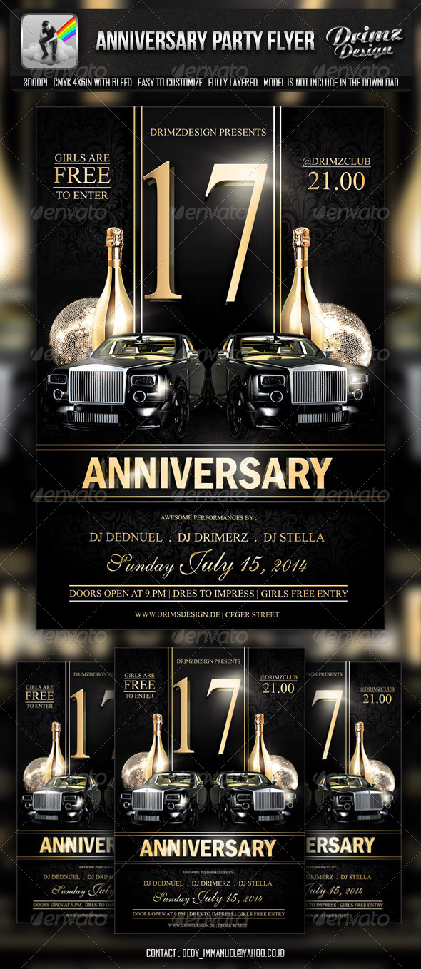 GraphicRiver Anniversary Party Flyer 6661420