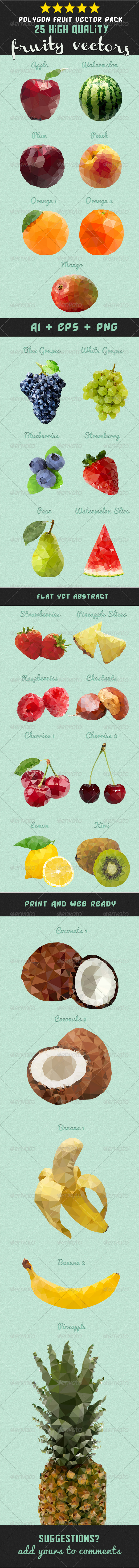 GraphicRiver Polygon Fruit Vector Pack 6650427