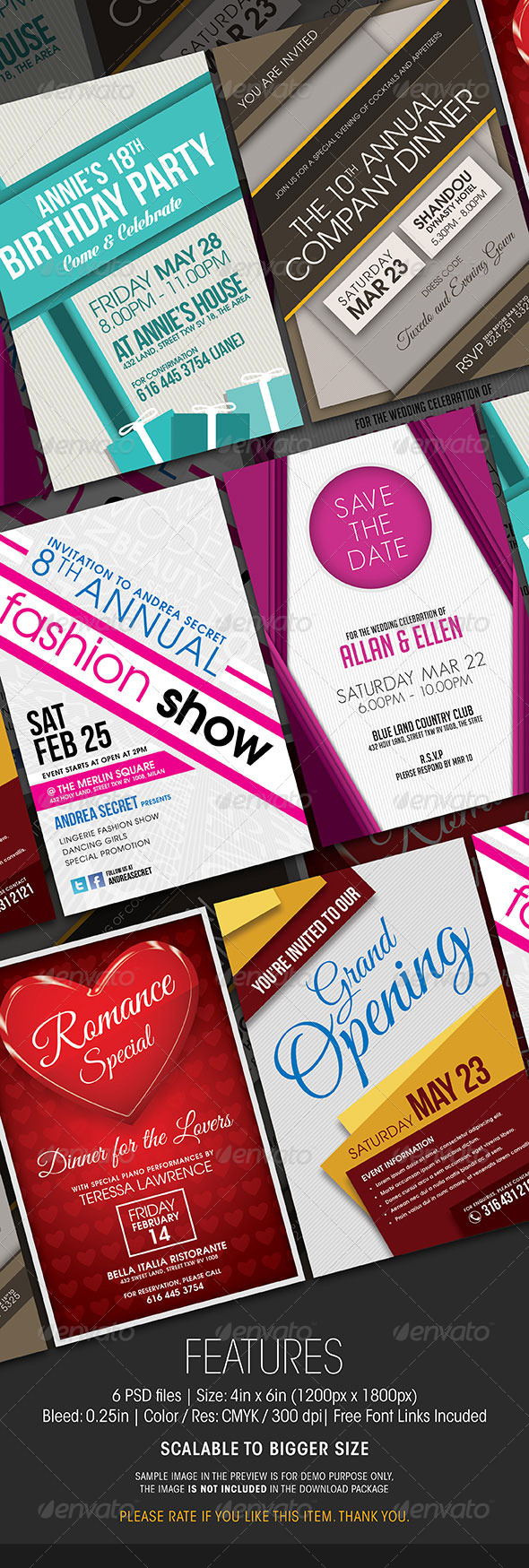 GraphicRiver Multipurpose Invitation Cards Collection 6662241