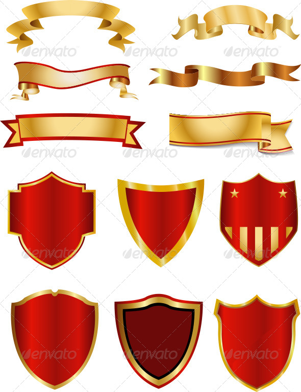 Golden Ribbon Banner And Shield Collection