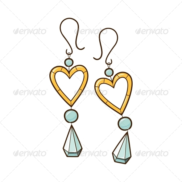 GraphicRiver Hearts Earrings 6662553