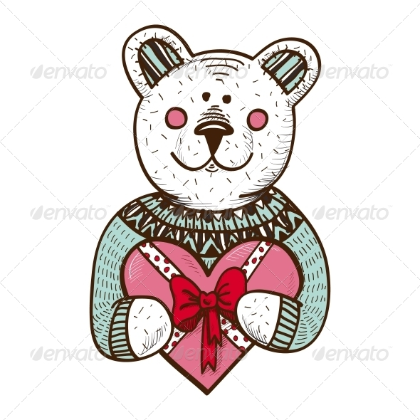 GraphicRiver Teddy Bear with Heart Present 6662633