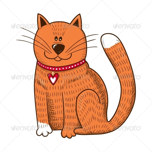 GraphicRiver Cat with Heart on Collar 6662667