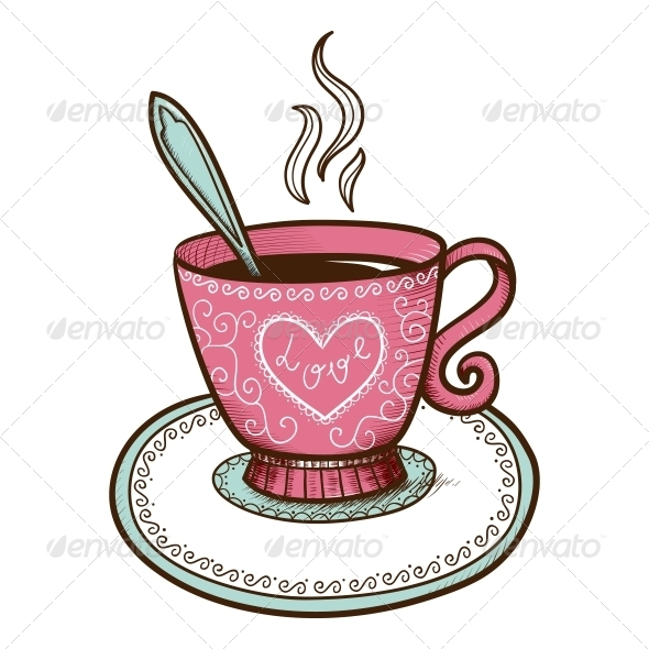 GraphicRiver Tea or Coffee Cup with Heart Shaped Steam 6662684