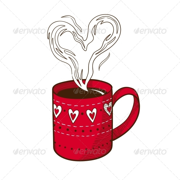 GraphicRiver Coffee Cup with Heart Shaped Steam 6662686