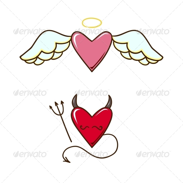 GraphicRiver Angel and Demon Hearts 6662692