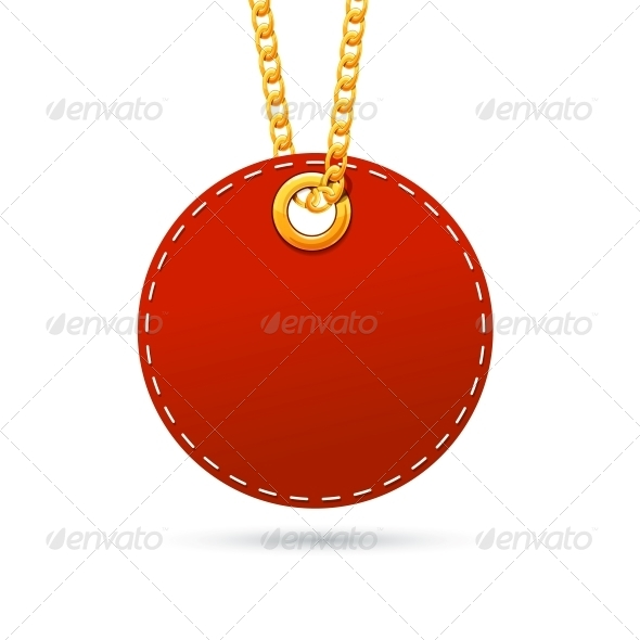 Label Tag Hanging on Golden Chain