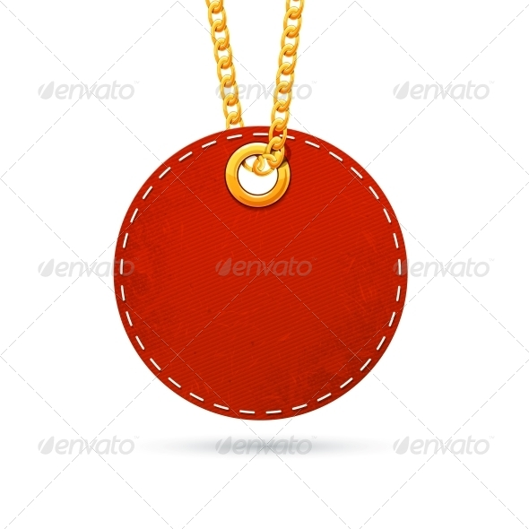 GraphicRiver Label Tag Hanging on Golden Chain 6662701