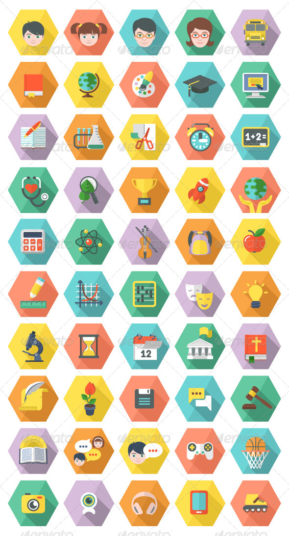 GraphicRiver Modern Flat Education and Leisure Icons in Hexagon 6662715