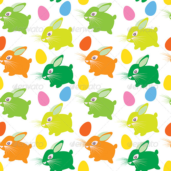 GraphicRiver Easter Rabbit with Eggs Seamless Texture 6662788