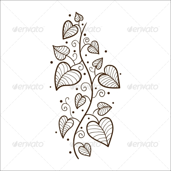 GraphicRiver Heart Leaves Border 6663137