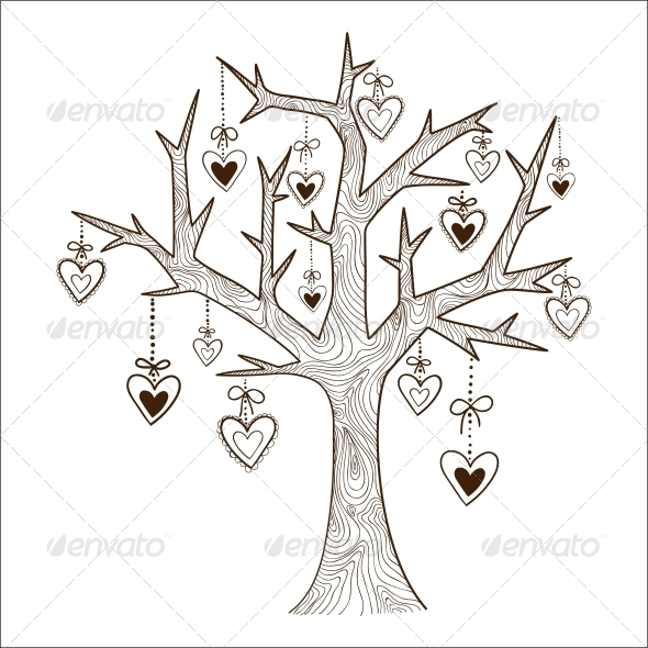 GraphicRiver Tree with Hearts Labels 6663151