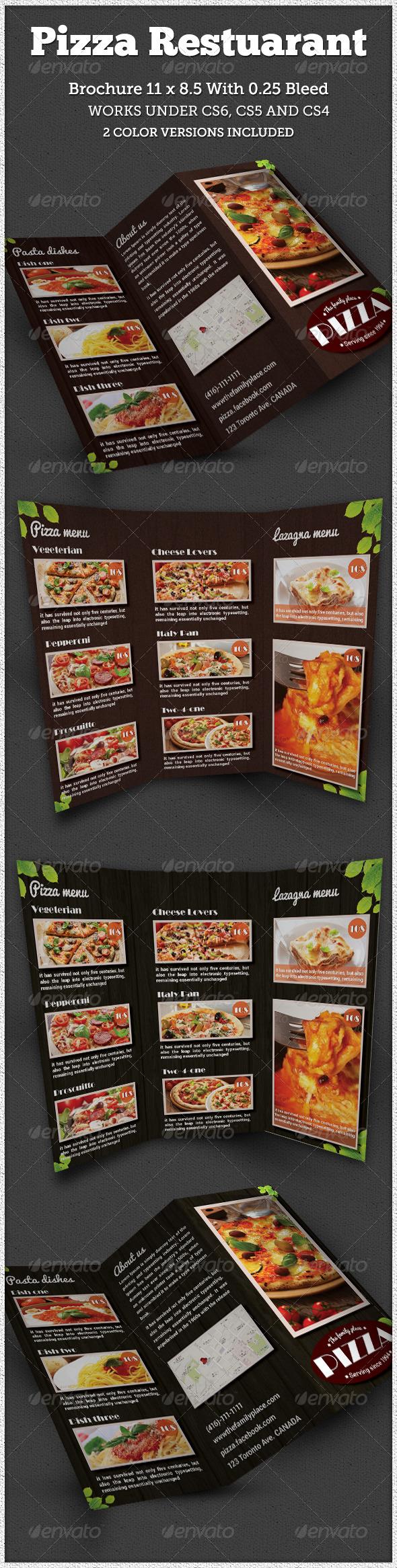 GraphicRiver Pizza Restaurant Tri-fold Brochure Indesign 6662968