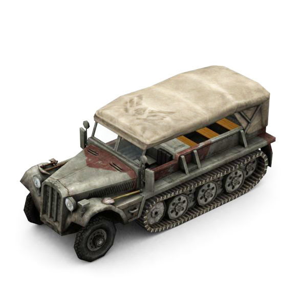 Military Modern War Transport Truck (Red) - 3DOcean Item for Sale