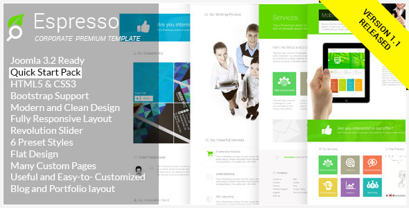 Espresso - Multipurpose Responsive Joomla Template - Corporate Joomla
