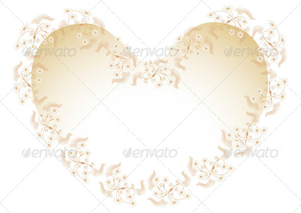 Frame with Flowers in Heart Shaped. - Stock Photo - Images