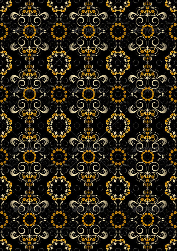 Black Pattern with Orange Flowers and Silver Spirals. - Stock Photo - Images