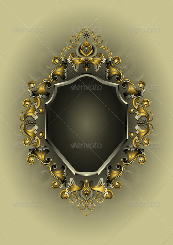 Antique Frame with Gold and Silver Decor - Stock Photo - Images