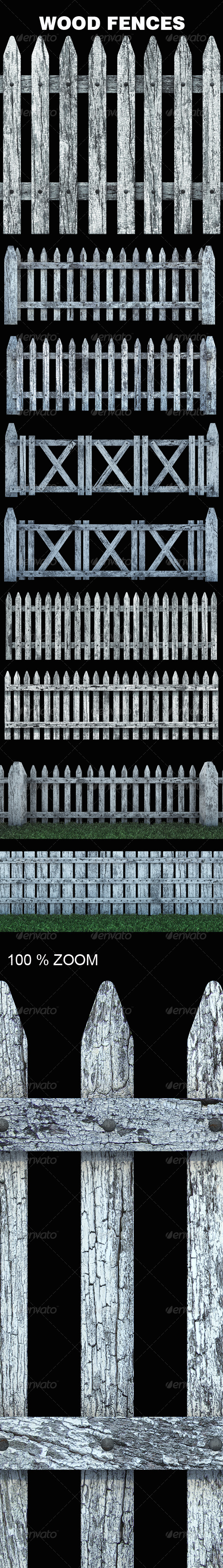 GraphicRiver Old White Wood Fences 6663612