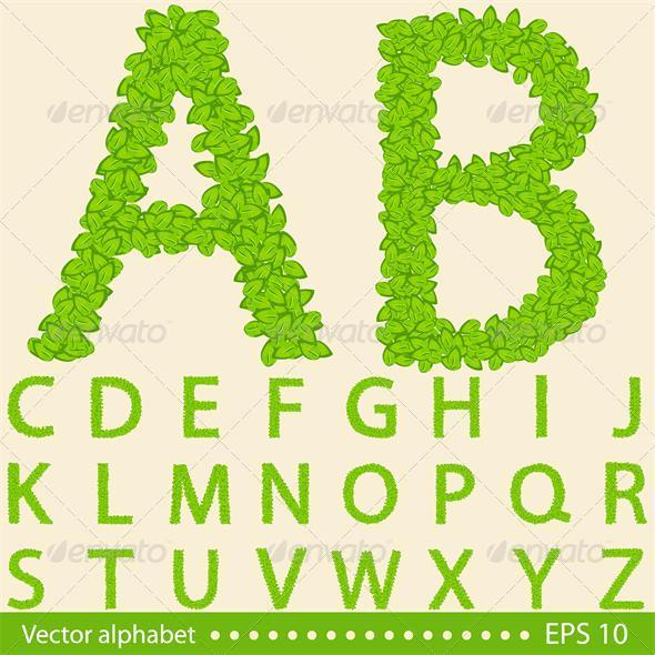 GraphicRiver Alphabet with Green Leaves 6515745