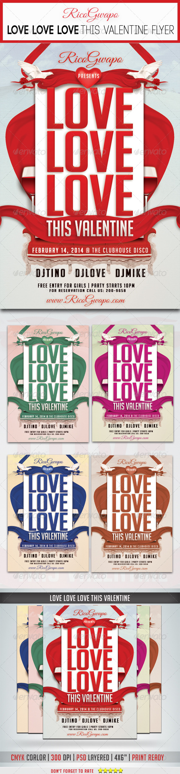 GraphicRiver Love Love Love This Valentine Flyer Template 6663655