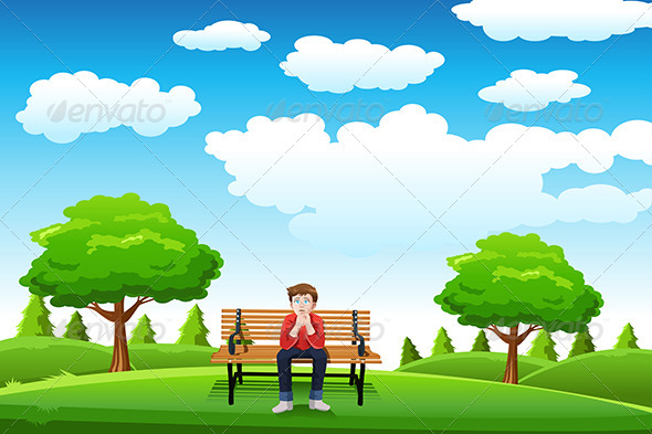 GraphicRiver Man Sitting on the Bench 6658195