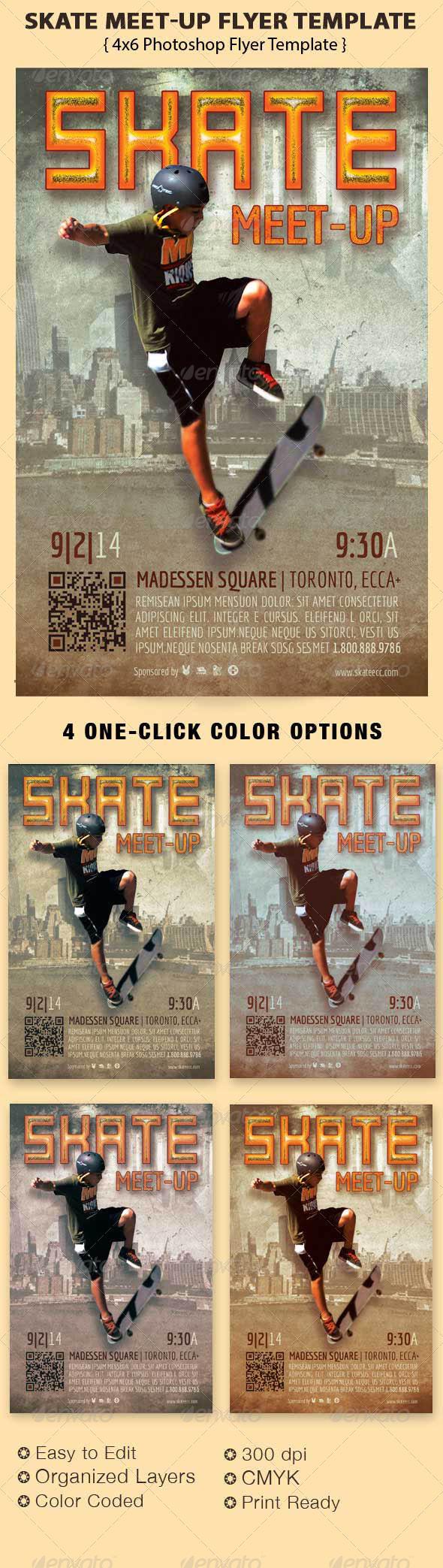 Skate Meet-Up Flyer Template - Events Flyers