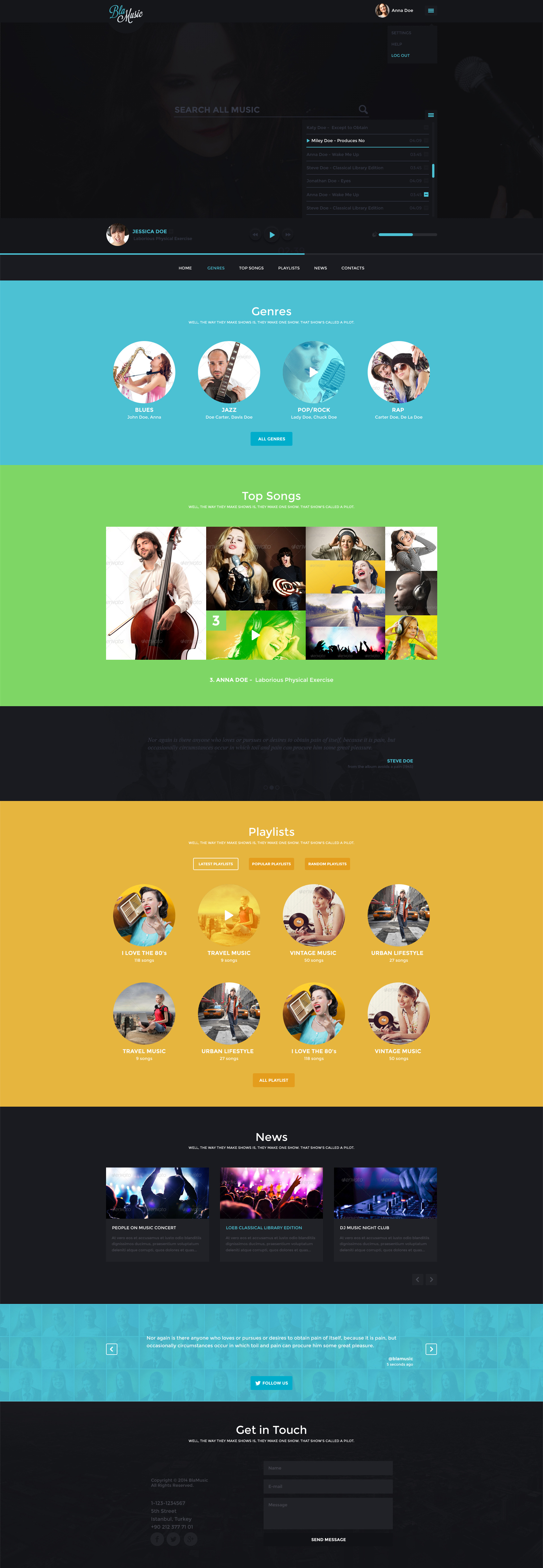 BlaMusic - Music PSD Template -  Dark& Light