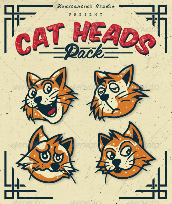 GraphicRiver Cat Heads Pack 6665212