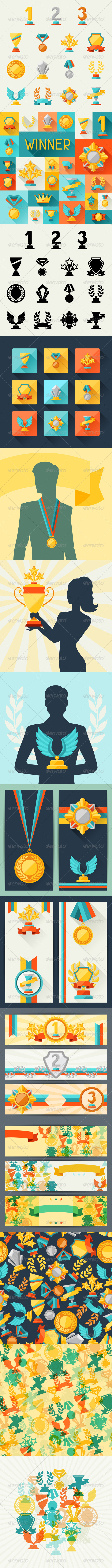 GraphicRiver Trophy and Awards in Flat Design Style 6665226