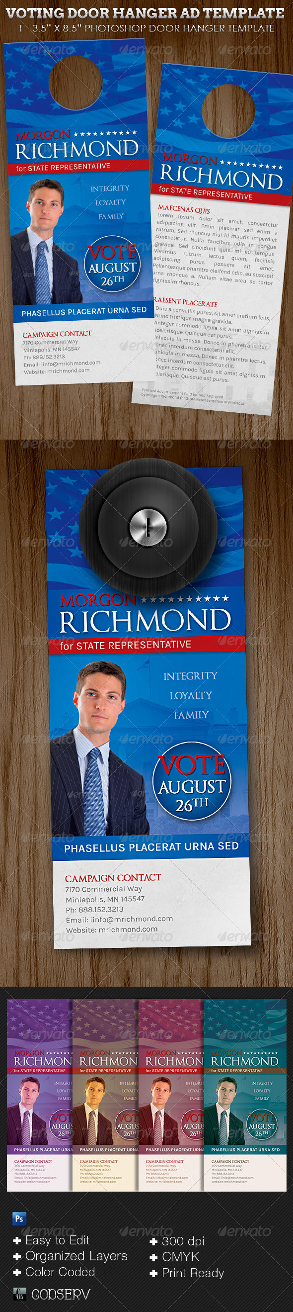 Voting Campaign Door Hanger Template - Miscellaneous Print Templates