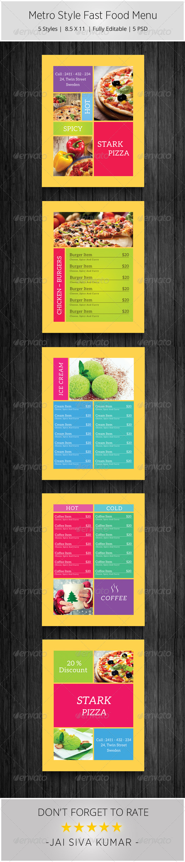GraphicRiver Metro Style Fast Food Menu 6665525