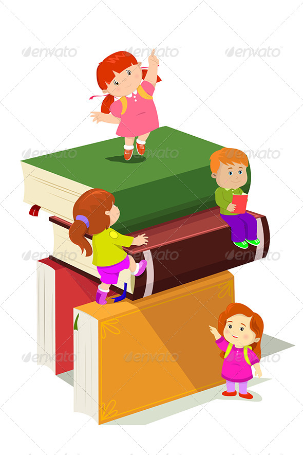 GraphicRiver Kids Climbing in Stack of Books 6666013