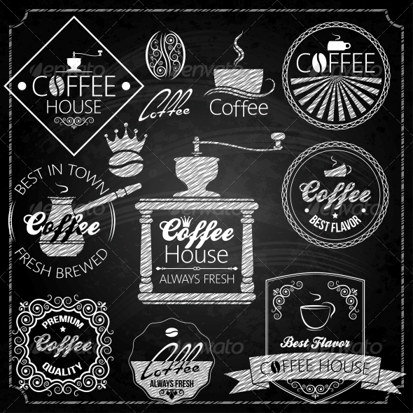 GraphicRiver Coffee Set Elements Chalkboard 6666523