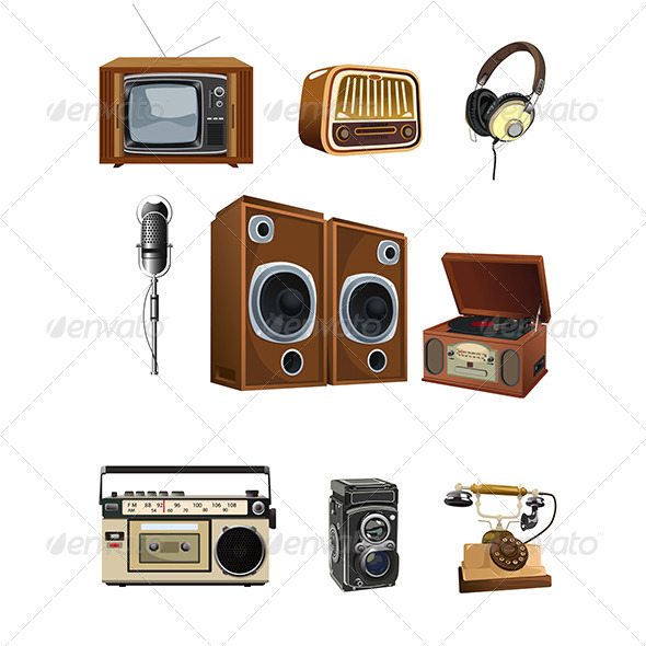 GraphicRiver Vintage Media Stuff Icons 6666586