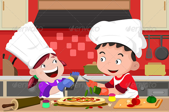 GraphicRiver Kids Making Pizza in the Kitchen 6666765