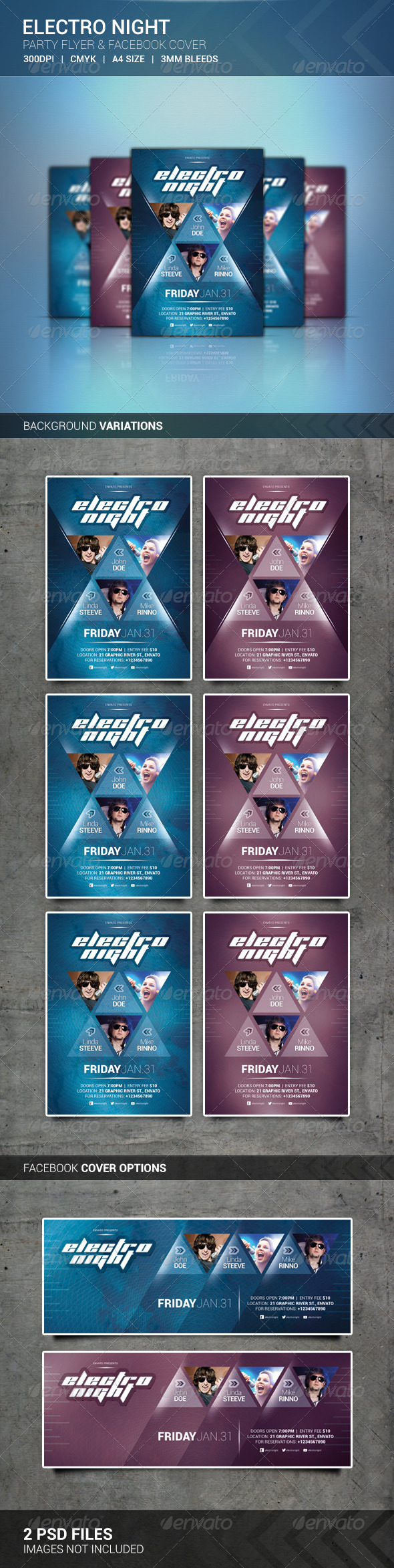 Electro Night Flyer & Facebook Cover - Clubs & Parties Events