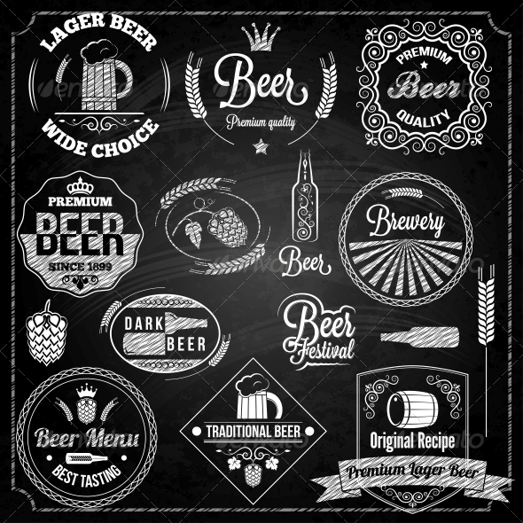 GraphicRiver Beer Set Elements Chalkboard 6667210