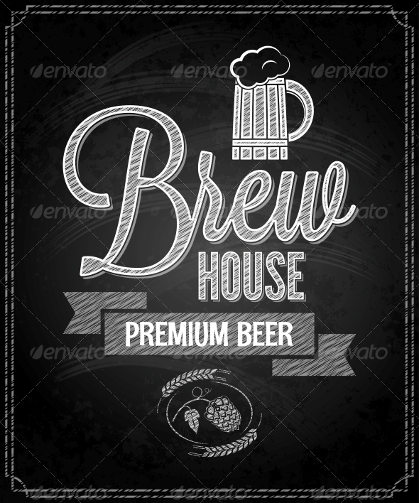 GraphicRiver Beer Menu Design House Chalkboard Background 6667219