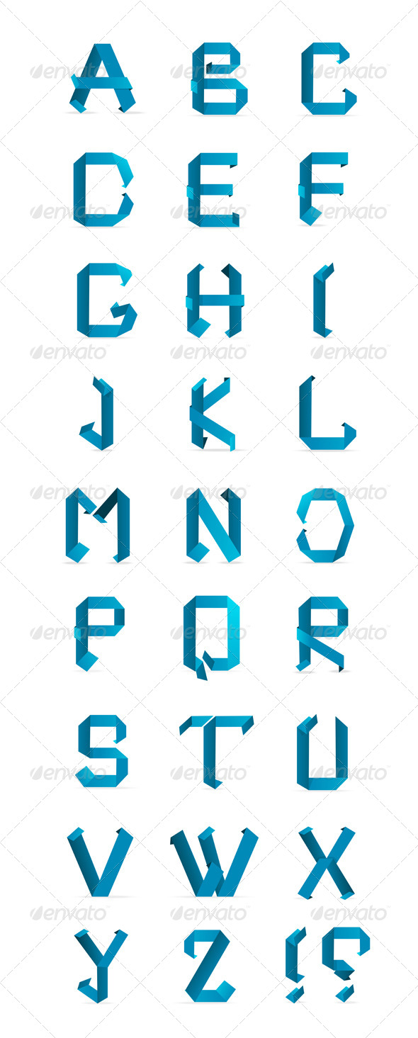 GraphicRiver Paper Origami Letters Alphabet 6667313