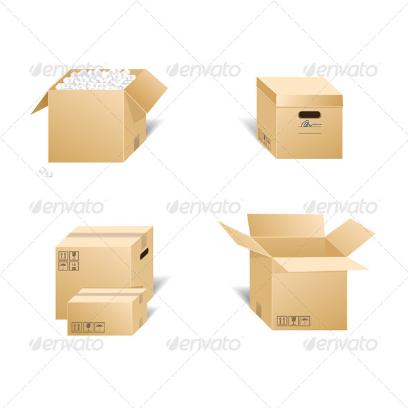 GraphicRiver Cardboard Box Set 6667529