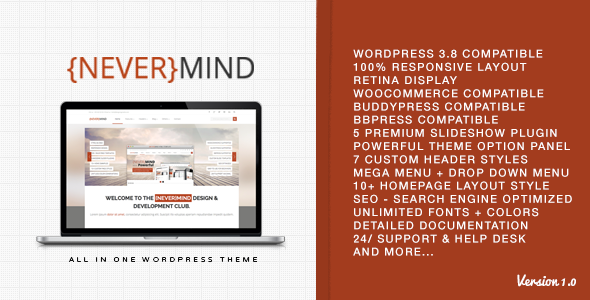 ThemeForest Nevermind Multi Purpose Wordpress Theme 6650204