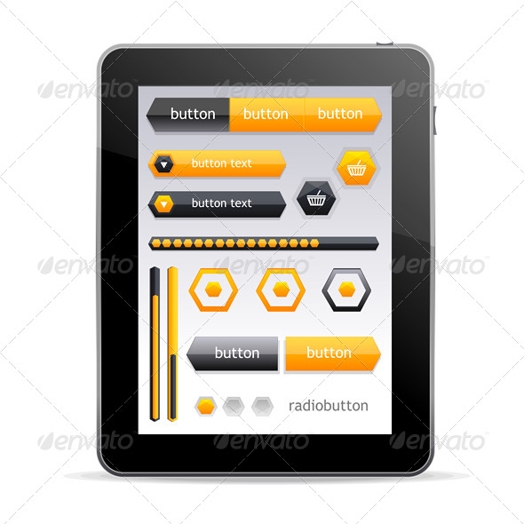 GraphicRiver GUI elements for Tablet 6667663