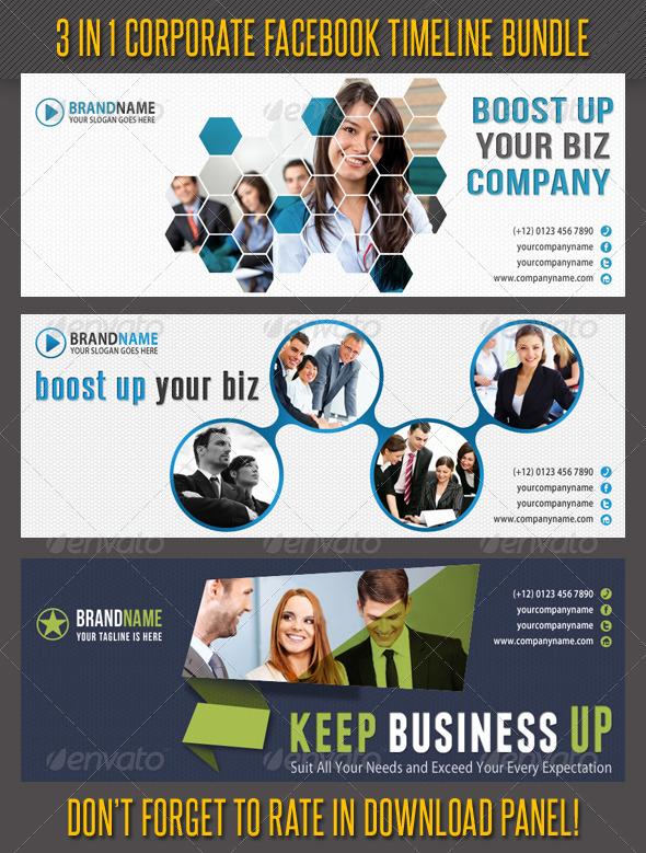 GraphicRiver 3 in 1 Corporate Facebook Timeline Bundle 03 6667697