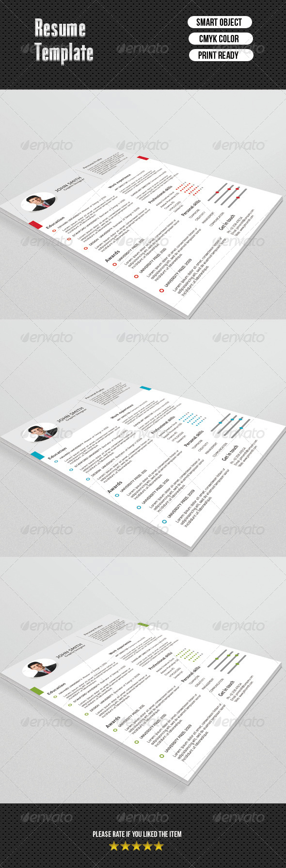 GraphicRiver Fresh Resume Template 6668176