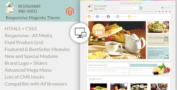 Restaurant and Hotel - Magento Responsive Theme