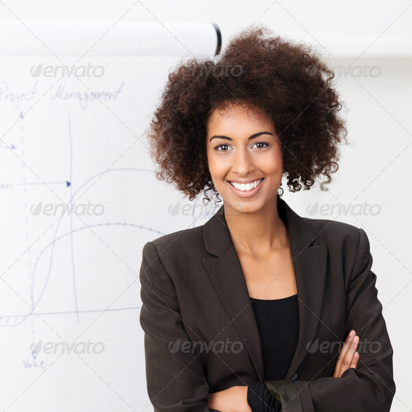 Confident smiling African American woman - Stock Photo - Images